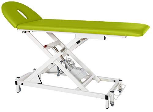 MEDITECH Therapieliege VARIO Nr. 1, elektrisch höhenverstellbar mit Sicherheitsbox I Behandlungs-Liege, Massage-Liege aus Stahl, belastbar bis 190 kg, Bezugfarbe: grün