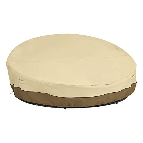 HH1 Patio Rattan Daybed Cover Round Sofa Cover, Waterproof 210D Oxford Fabric Dustproof Lightweight Garden Furniture Cover,223x216x90cm/88x85x35in