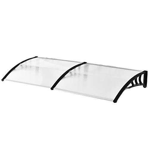 Outsunny Canopy Door Canopy Gewölbtes Design Abgerundete Abmessung 195 L x 80 B x 23 H cm Polycarbonat Kunststoff Schwarz