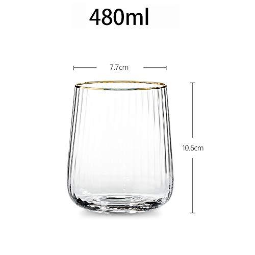 Copas creativas de vidrio de cristal de cristal texturizado vertical de Phnom Penh, gafas de champán, adecuadas para familias, clubes, bares, boda europea de muebles para casa ( Color : Clear 480ml )