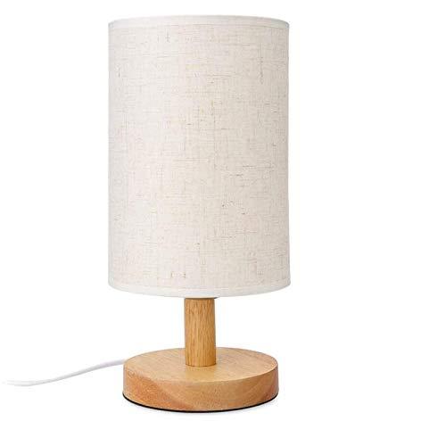 bobotron Lámpara de mesita de noche redonda con pantalla de tela y madera maciza para dormitorio, habitaciones, habitaciones, oficinas, modernas