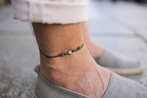 Made by Nami Dünnes Wickel-Fußband für Herren & Damen mit Karabiner-Haken Verschluss - Handmade Männer Fußkettchen - Surfer-Schmuck Herren-Schmuck - 100% Wasserfest & Verstellbar (Grün Gold)