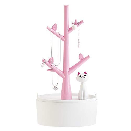 FiedFikt - Joyero para colgar joyas con forma de gato, joyero, joyero, expositor para collares, pulseras, pendientes, anillos y relojes