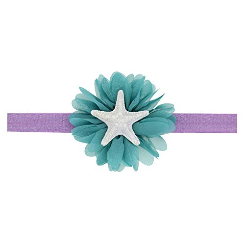 Love Fairy Baby Girl's Cute Starfish Elastic Hair Band Ocean Princess Headband for Travel Party Festivals (Peacock Blue)