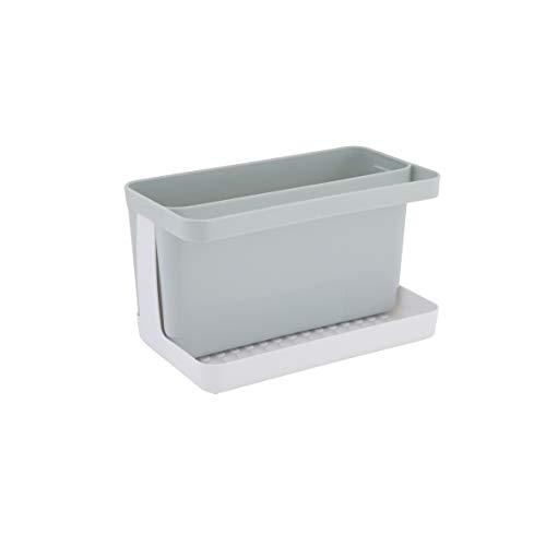 axentia Organizador de fregadero Caddy Organizador para los platos y utensilios Soporte de plástico para utensilios de cocina aprox. 20.5 x 12.5 x 11.5 cm, gris/blanco