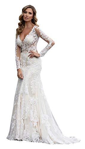 CGown Damen-Hochzeitskleid, V-Ausschnitt, Spitze, Meerjungfrau, Hochzeitskleid, mit langen Ärmeln, Zug, Tüll, Applikation, Strandkleid, Brautkleid Gr. 34, elfenbeinfarben