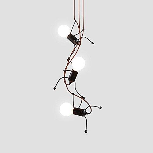 Pionthx Nordic Moderne Eisen 3-Licht Decke Pendelleuchte Persönlichkeit Kreative Menschlichen Modell Hängelampe Kette Einstellbar für Esszimmer Wohnzimmer Schlafzimmer Innen Leuchten