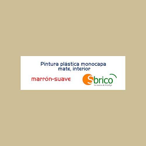 Sbrico Pintura Plástica Monocapa - Color Marrón con Acabado Mate de Secado Rápido, Alto Rendimiento (10m2/L) y Muy Fácil Aplicación, Cubeta de 4 Litros
