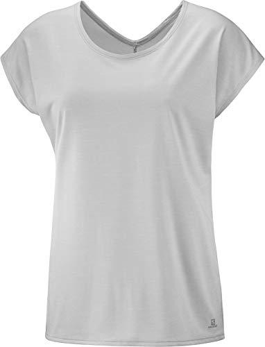 SALOMON Coet SS Tee T-Shirt à Manches Courtes pour Femme L Pierre Lunaire/Blanc/chiné