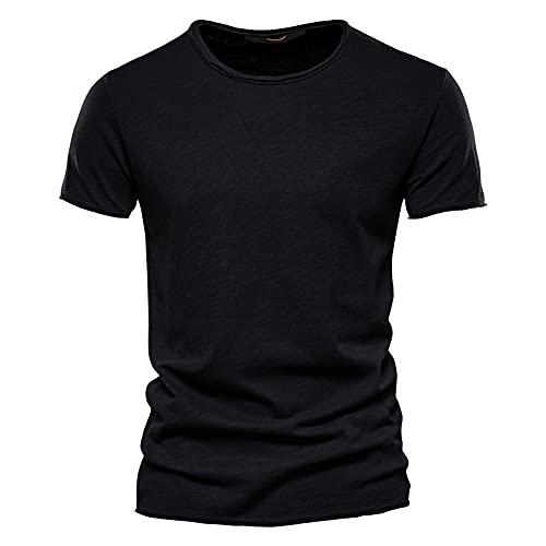 Camiseta Hombre Verano Regular Fit Moderno Hombre Correr Shirt Cuello Redondo Color Sólido Manga Corta Deportiva Camisa Básica Funcional Shirt Transpirable Causal Músculo Shirt D-Black S