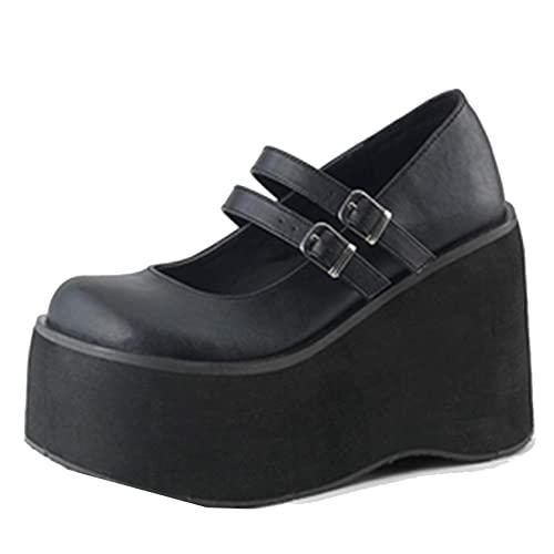 Lo último de las mujeres Mary Jane zapatos para niñas moda de boca poco profunda hebilla correa punk cuero zapatos vintage punta redonda plataforma cuñas creepers zapatos, Negro Mate, 7