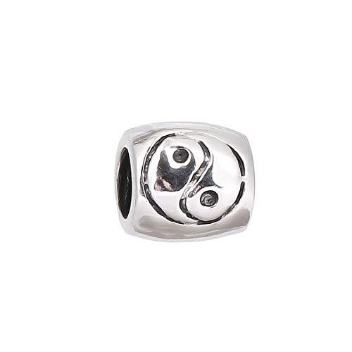 AKKi Jewelry, charm in acciaio inox, perla, per bracciale con ciondolo, in argento, con strass, compatibile con stile Pandora