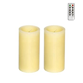 GiveU Smooth Flameless Led Candle Real Wax Electric Votive Candle Ivory 2  D x 4  H Pack of 2