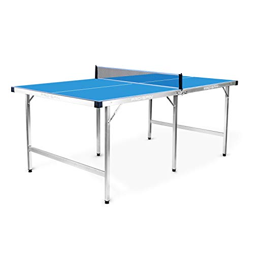 PRO Spin Mid-Size Ping Pong Table Foldable & 100% Pre-Assembled | Table Tennis Table for Small Spaces | Portable Table with Ping Pong Net for Indoor & Outdoor Games | Water-Resistant & Weatherproof