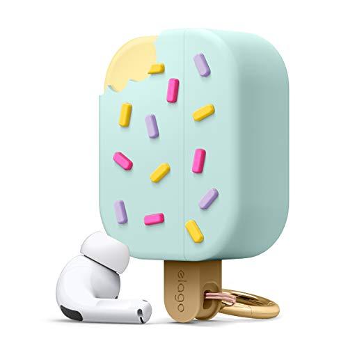 elago Funda Helado con Mosquetón Compatible con AirPods Pro Case - Premium Silicona, Funda 3D Cariño Divertido (Menta)