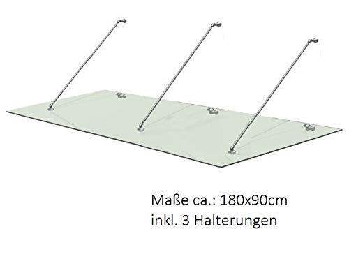 Euro Tische Vordach für Haustür aus belastbarem ESG Sicherheitsglas - Glas Überdachung in 3 verschiedenen Größen + Halterung aus Edelstahl (180x90cm)