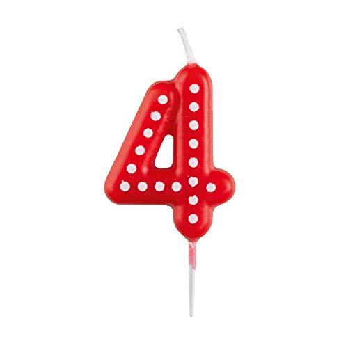 amscan 10023040 9900914 Zahlenkerze 4, mit weißen Punkten, farbig Sortiert, Entweder in Gelb, Blau, Rot, Grun oder Orange
