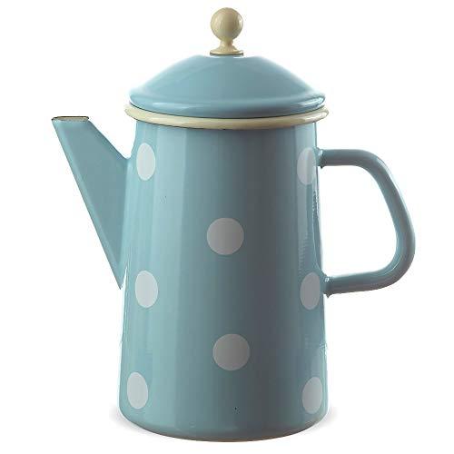matches21 Große Email Kanne Kaffeekanne blau gepunktet nostalgisches Emaille Geschirr je 23x12 cm / 1600 ml