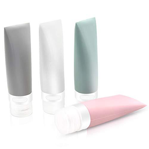 Reiseflaschen, FOMODY Silikon-Reise-Wasch-Zubehör, auslaufsicherer Behälter, 4 Stück, 80 ml für Shampoo, Conditioner, Lotion und Toilettenartikel, FDA-Zertifiziert, BPA-frei (Tb-02)