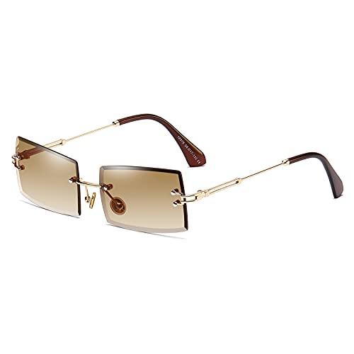 SHEEN KELLY Gafas de sol con montura cuadrada ultra pequeña para mujer Hombre Gafas de sol sin montura retro con lente transparente