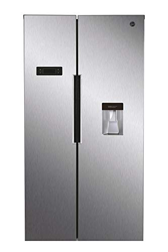 Hoover HHSBSO6174XWDK Freestanding American Fridge Freezer, Total No Frost, 521L Total Capacity, 90.2cm wide, Stainless Steel