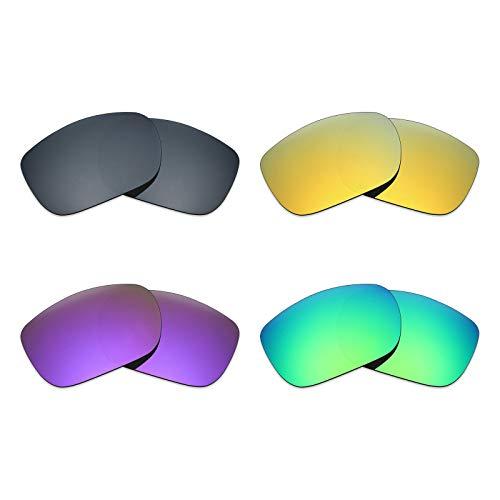 Mryok Lot de 4 paires de verres polarisés de rechange pour lunettes de soleil Oakley TwoFace Noir IR/24K Or/Violet Plasma Vert émeraude