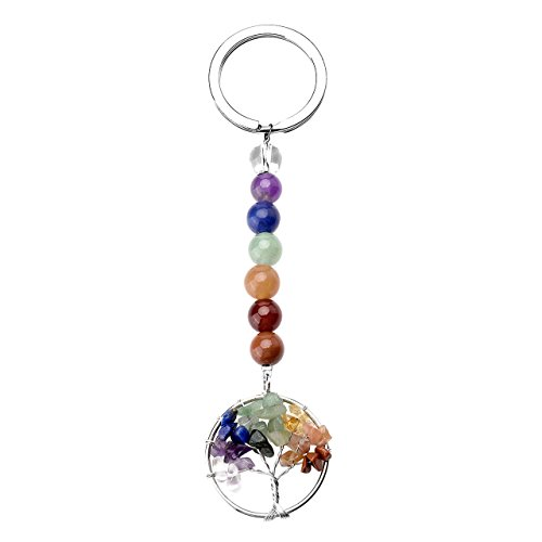 JOVIVI 7 Chakra Gemstone Tree of Life Pendant Keychain Healing Crystals Tumbled Stone Beads Keyring for Couple Best Friend Family