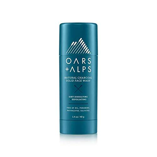 Oars + Alps Natural Face Wash with Activated Charcoal, Exfoliating Facial Cleanser Fights Blackheads and Acne, Travel Size, Vegan and Gluten Free, 1.4 oz