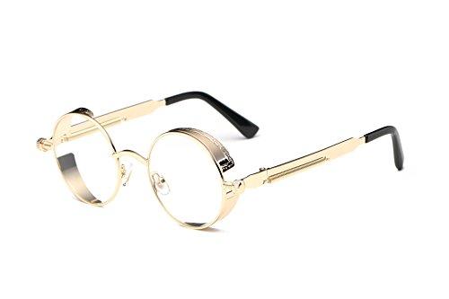 Gafas de sol clásicas estilo steampunk, redondas, reflectantes, retro, unisex
