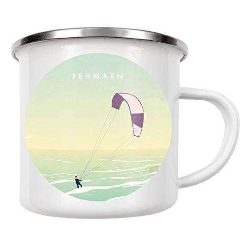 artboxONE Emaille Tasse Kitesurfing Fehmarn von Katinka Reinke - Emaille Becher Städte