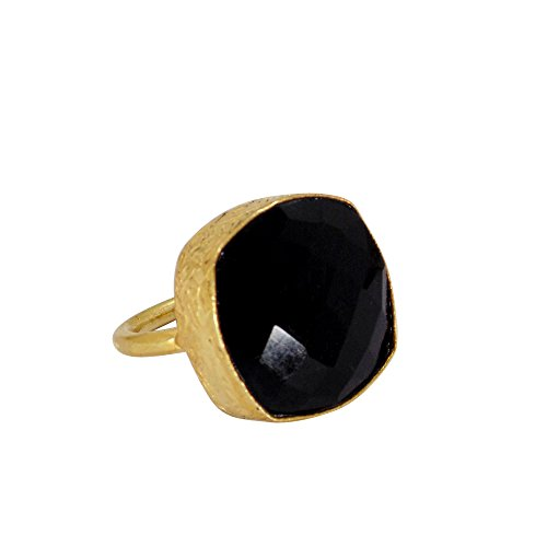 Wonderfull 22K Oro Vermeil negro Onyx Gemstone apilable Anillo de moda