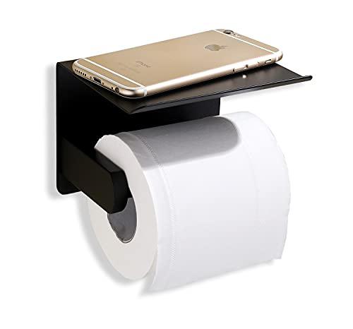 Momboo portarrollos de Papel higiénico con Estante, Diseño de Soporte para teléfono móvil, Dispensador de Acero Inoxidable SUS304,Soporte de Papel de baño Autoadhesivo montado en la Pared