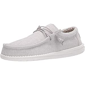 Hey Dude Men's Wally Chambray Grey Size 10 | Men's Shoes | Men's Lace Up Loafers | Comfortable & Light-Weight