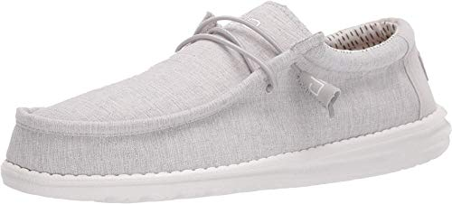 Hey Dude Men's Wally Chambray Grey, Size 13   Men's Loafers   Men's Slip On Shoes   Comfortable & Light-Weight