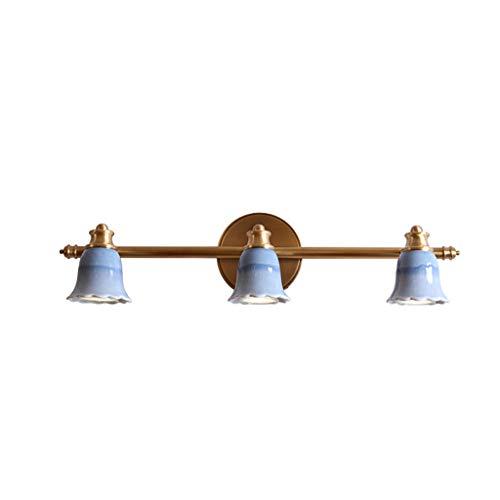 Nieuwe Chinese kunst koperen spiegel koper klassieke Chinese kunst keramische badkamer lamp dubbele kop drie hoofdspiegel koplamp LED-lampen WHLONG