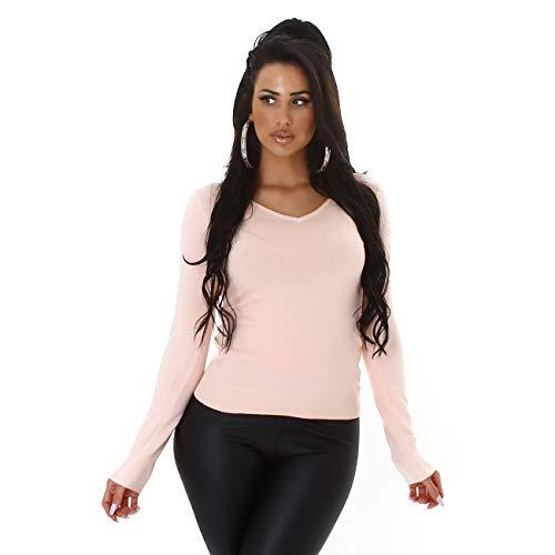 Jela London Damen Slim-Fit Feinstrick Pullover Langarm Stretch V-Ausschnitt, Rosabeige, 36-38