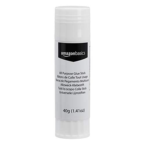 Amazon Basics - Colla stick multiuso, lavabile, formato grande, 40 g, confezione da 5 tubetti
