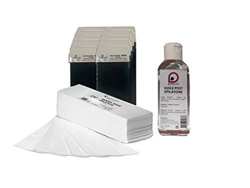 Kit EPILATION CONSOMMABLES avec 10 cartouches de cire à épiler 7 couleurs + 250 bandes d'épilation +1 Huile Post Épilatoire 100 ml BY PURENAIL (VERT)