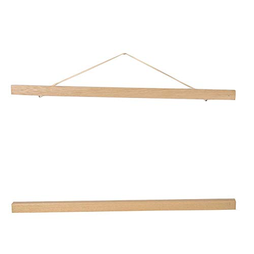 Portafotos magnético de madera marco de madera natural Picture Poster Artwork tela Hanger para la decoración doméstica 40cm Legno Bianco