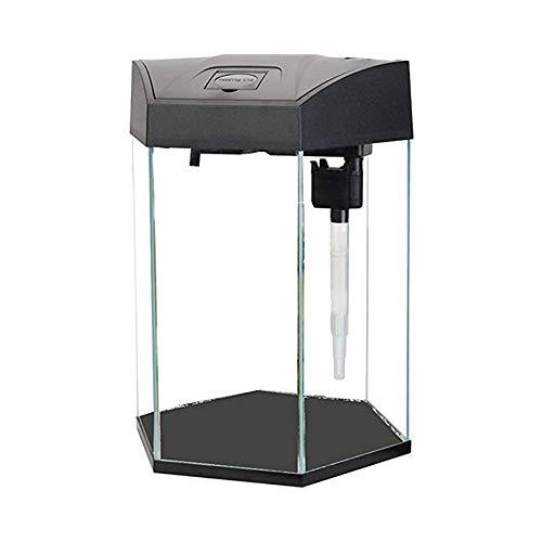 YINTE Aquarium Aquarium Starter Kit-Sechseckige ökologische Aquarium Kleines und mittleres Büro Wohnzimmer Aquarium Glas Aquarium, mit Wasserpumpe Lampe Filter-22L