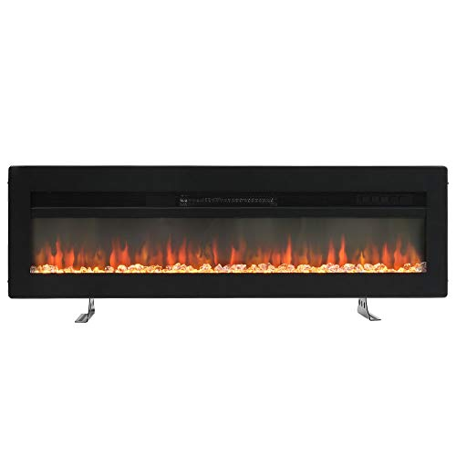 FIDOOVIVIA Electric Fireplace Freestanding Wall/Insert Mounted Fire Suite Heater with 9 Flame Colour Effect, Manual Switches & Remote Control, 900W/1800W, 50 Inch Black