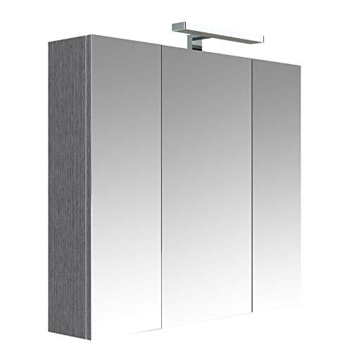 Allibert Toilettenschrank beleuchtet 3 Türen Juno – L 80 x H. 75 cm – Grau Eiche Anthrazit