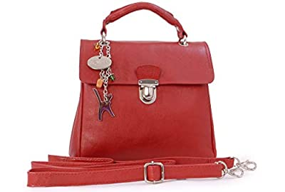 Catwalk Collection Handbags - Cuir Véritable - Sac porté épaule avec Bandoulière réglable et détachable/Sac à Main/Sac Bandoulière/Sac Besace/Sac Porté Croisé - Femme - PANDORA - Rouge