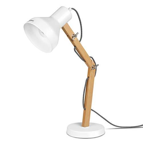 Tomons Schreibtischlampe LED mit schwenkbaren Holzarmen, Designer-Tischlampe, Leselampe, Studierlampe, Arbeitslampe, Bürolampe, Nachttischlampe, LED-Birnen-Lampe - Weiß