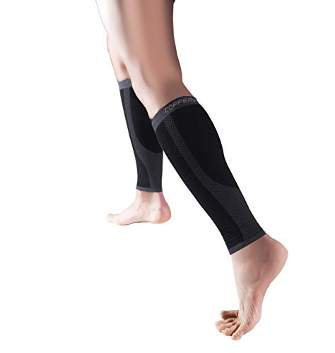 Copper Fit unisex adult Copper Infused Compression Calf Sleeves Bandana, Black, Small Medium US