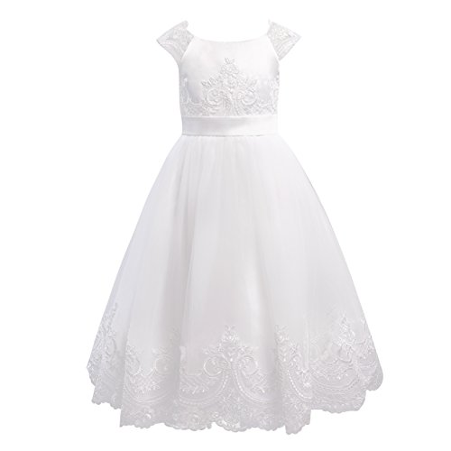 Miama Ivory Lace Tulle Cap Sleeves Wedding Flower Girl Dress Christening Communion Dress