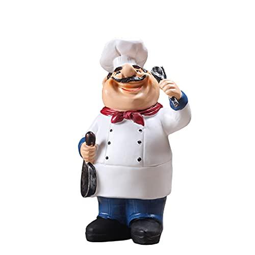 5665 Resina Chef Figuras Adorno Estatua Modelo Artesanía Decoración Bar Cafetería Arte Estatua Modelo Decoración de Mesa Regalo Decoración del Hogar Pastel,A