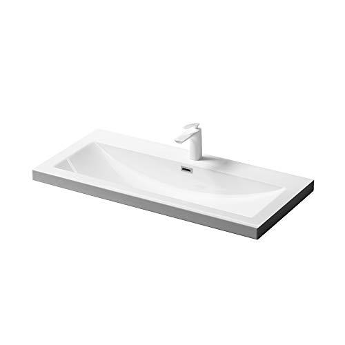 Einbau-Waschbecken Col01 Waschschale Waschtisch Mineralguss Rechteckig 1 Armaturenloch Überlauf-Funktion Breite: 100cm