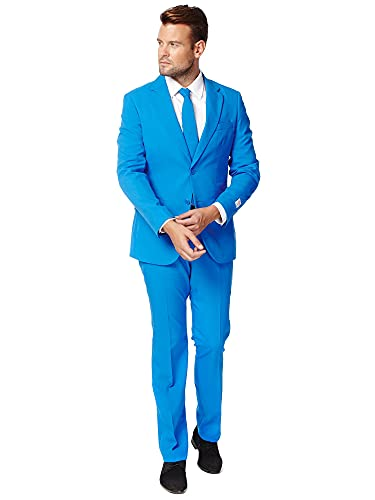 OppoSuits Solid Color Party for Men – Blue Steel – Full Suit: Includes Pants, Jacket and Tie Costume d39homme, Bleu, 44 Homme