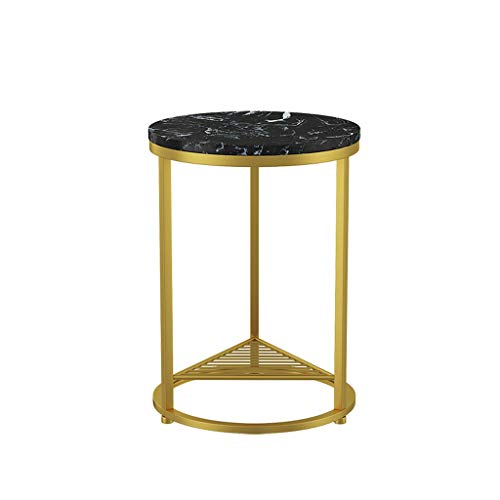 Coffee Table Nordic Simple Wrought Iron Marble Coffee Table Side Sofa Living Room Golden End Table Creative Round Tea Table Side Table (Color : Black gold)
